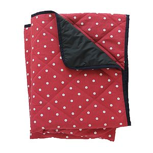 Large Padded Picnic Blanket Red Polka Dot - outdoor living