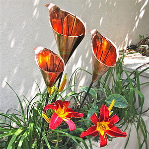 Elegant Copper Lily Garden Sculpture - art & decorations