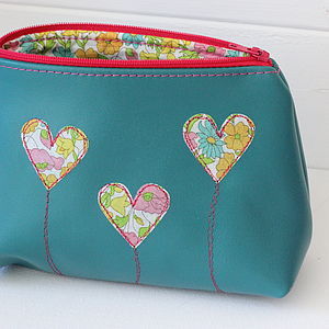 Personalised Leather Heart Cosmetic Bag - make-up & wash bags