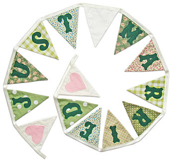 Just Married Wedding Bunting in Sage Greens