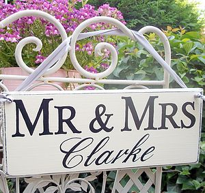 Personalised Mr And Mrs Monogram Wedding Signs - table decorations