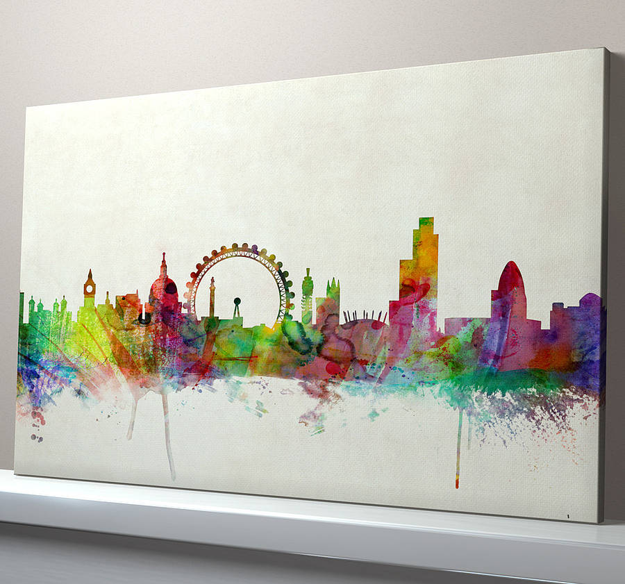 Vintage Background London Skyline Box Canvas : city skyline wall art - www.pureclipart.com