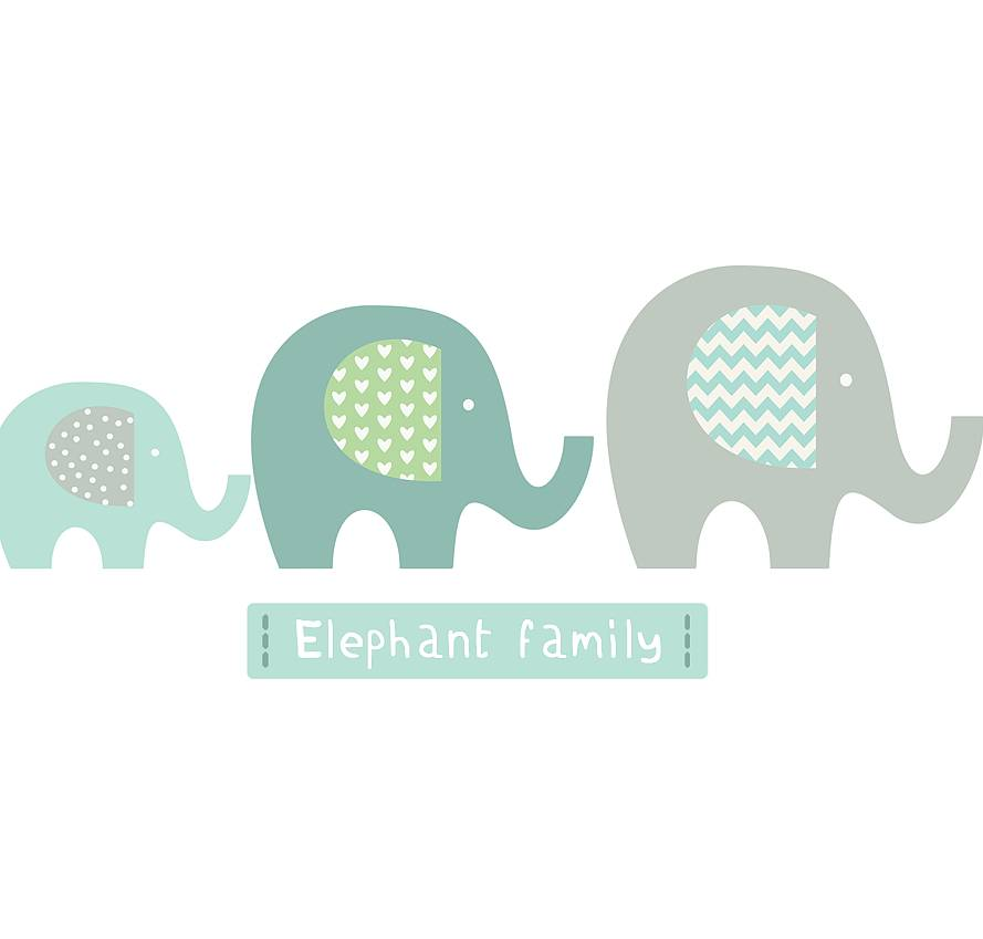 elephant family fabric wall stickerslittleprints
