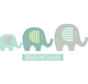 Elephant Family Fabric Wall Stickers - baby's room