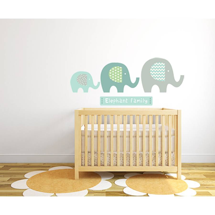 Exceptional Elephant Family Fabric Wall Stickers Part 28