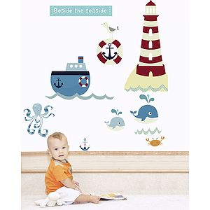 Beside The Seaside Fabric Wall Stickers - children's room accessories