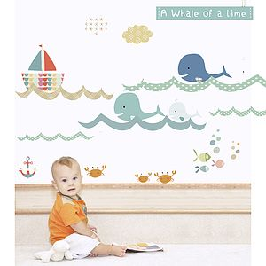 A Whale Of A Time Fabric Wall Stickers - baby's room