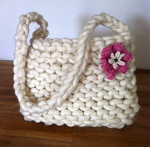 Knitted Happy Handbag - shoulder bags