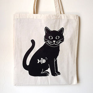 Black Cat Tote Bag - shoulder bags