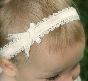 Darcy Silk And Lace Flower Girl Baby Headband - christeningwear