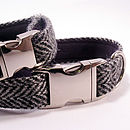 Herringbone Harris Tweed Dog Collar: steel grey