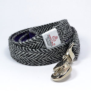 Herringbone Harris Tweed Dog Lead - walking