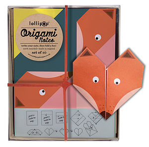 Origami Notepaper Set : Fox - all purpose cards, postcards & notelets