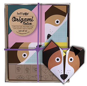 Origami Notepaper Set : Dog - all purpose cards, postcards & notelets