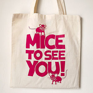 'Mice To See You' Handprinted Girl's Bag - shoulder bags