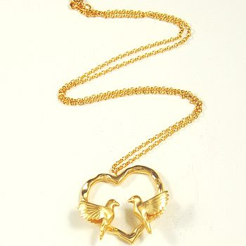 Gold Heart Love Bird Necklace