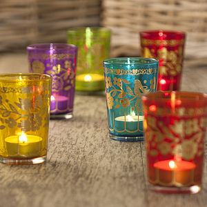 Eclectic Glass Tea Light Holders Set Of Six - lights & candles