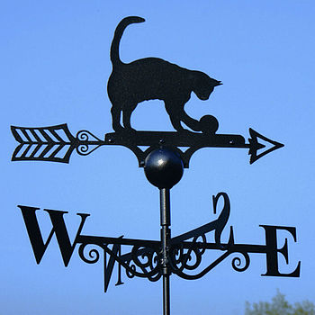 Cat Playing With Ball Weathervane Made In Britain