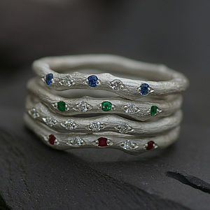 Four Rings Set With Ruby,Emerald,Sapphire - april birthstone