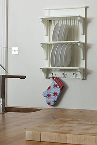 Wooden Painted Plate Rack Wall Unit - furniture