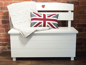Pine Storage Bench - Double Seat