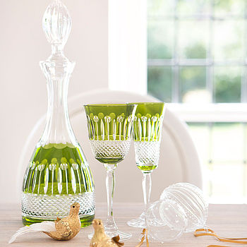 Set Of Two Rainbow Olive Green Wine Glasses