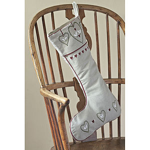 Linen Heart And Dove Stocking