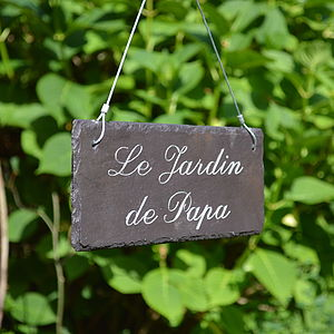 Engraved Slate Garden Sign In French - art & decorations