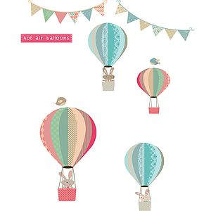 Bunny And Balloons Fabric Wall Stickers - wall stickers