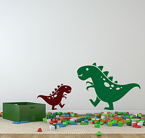Friendly Pair Of Dino Dinosaur Wall Stickers - wall stickers by room
