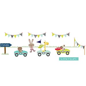Little Racers Fabric Wall Stickers - children's room accessories