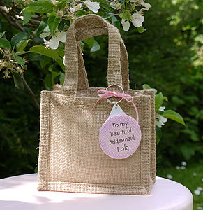 Personalised Wedding Gift Bag & Keyring - flower girl gifts