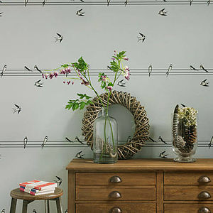 On A Wire Birds Wallpaper - home accessories