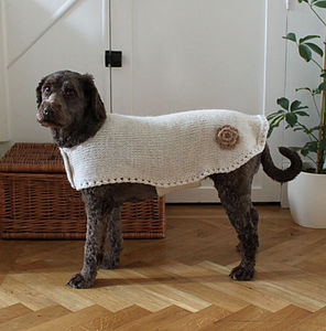 Crochet Flower Alpaca Dog Jacket - clothes & accessories