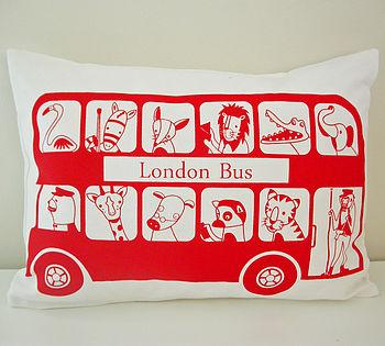 London Bus Organic Nursery Cushion