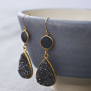 Druzy You Rock My World Earrings - gifts for her