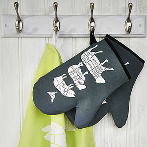 Butcher's Kitchen Single Oven Mitt - gifts for him