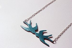 Reversible Kissing Swallows Enamel Necklace