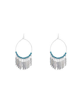 Turquoise Feather Hoop Earring