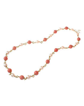Pearl Beaded Coral Necklace