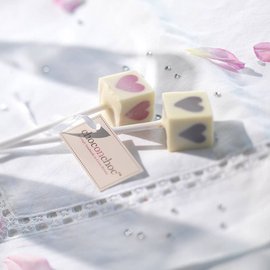 pink heart lolly chocolate wedding favours, set of 20 by choc on ...