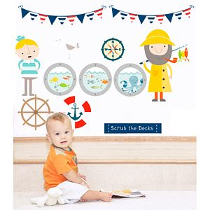 Scrub The Decks Fabric Wall Stickers - baby's room