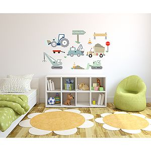 Construction Site Fabric Wall Stickers