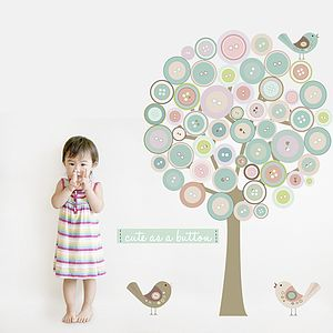 Button Tree Fabric Wall Sticker - wall stickers