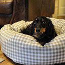 Taupe Gingham Donut Dog Bed With Removable Cushion