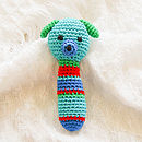 Handmade Crochet Animal Rattle-blue dog