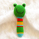 Handmade Crochet Animal Rattle-green frog