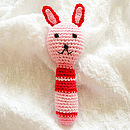 Handmade Crochet Animal Rattle-pink bunny