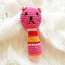 Handmade Crochet Animal Rattle-pink cat