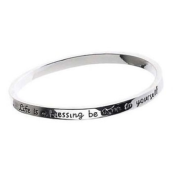 Life is a Blessing Bangle - Silver